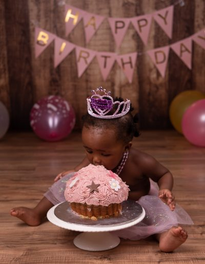 cake smash for little girl's first birthday