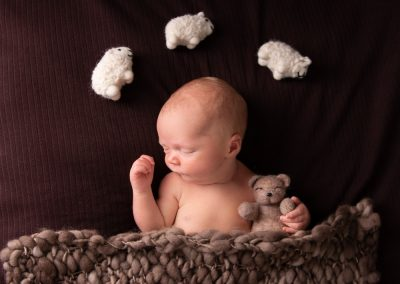 sleeping newborn baby boy with felt teddy bear and felt sheep