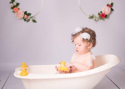 first birthday photography bubble bath